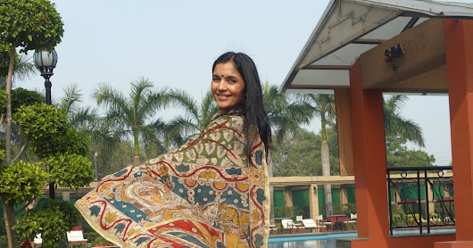 Hand-painted silk Kalamkari saree