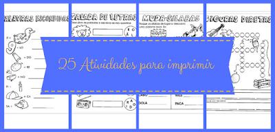 25 atividades para alfabetização infantil para imprimir