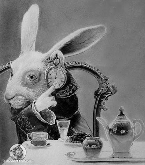 14-The-White-Rabbit-Alice-in-Wonderland-Lorine-Angelmann-Cool-Realistic-Animal-Drawings-www-designstack-co