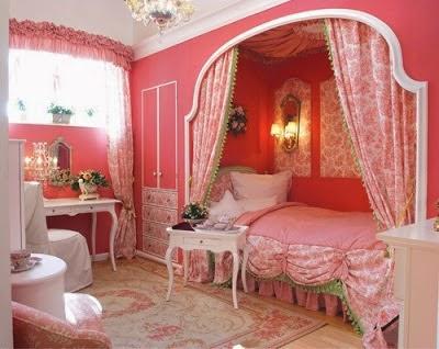 Dormitorio de niña en rosa y verde