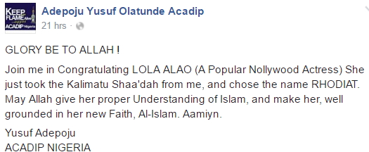 lola alao turns muslim
