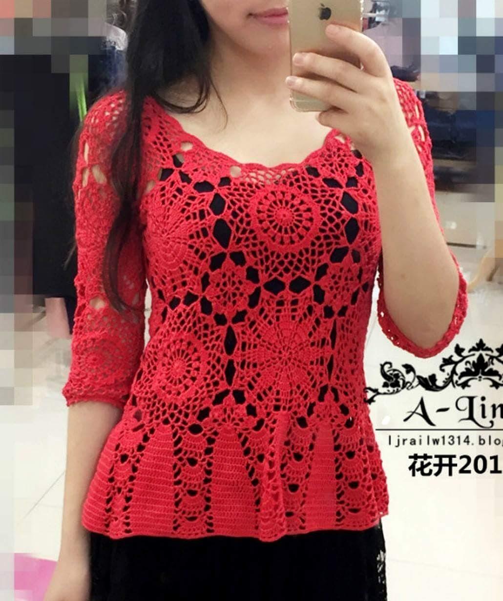1ae120f10 Blusa em Crochê Vermelha com Motivos * Gráficos no post - Katia ...