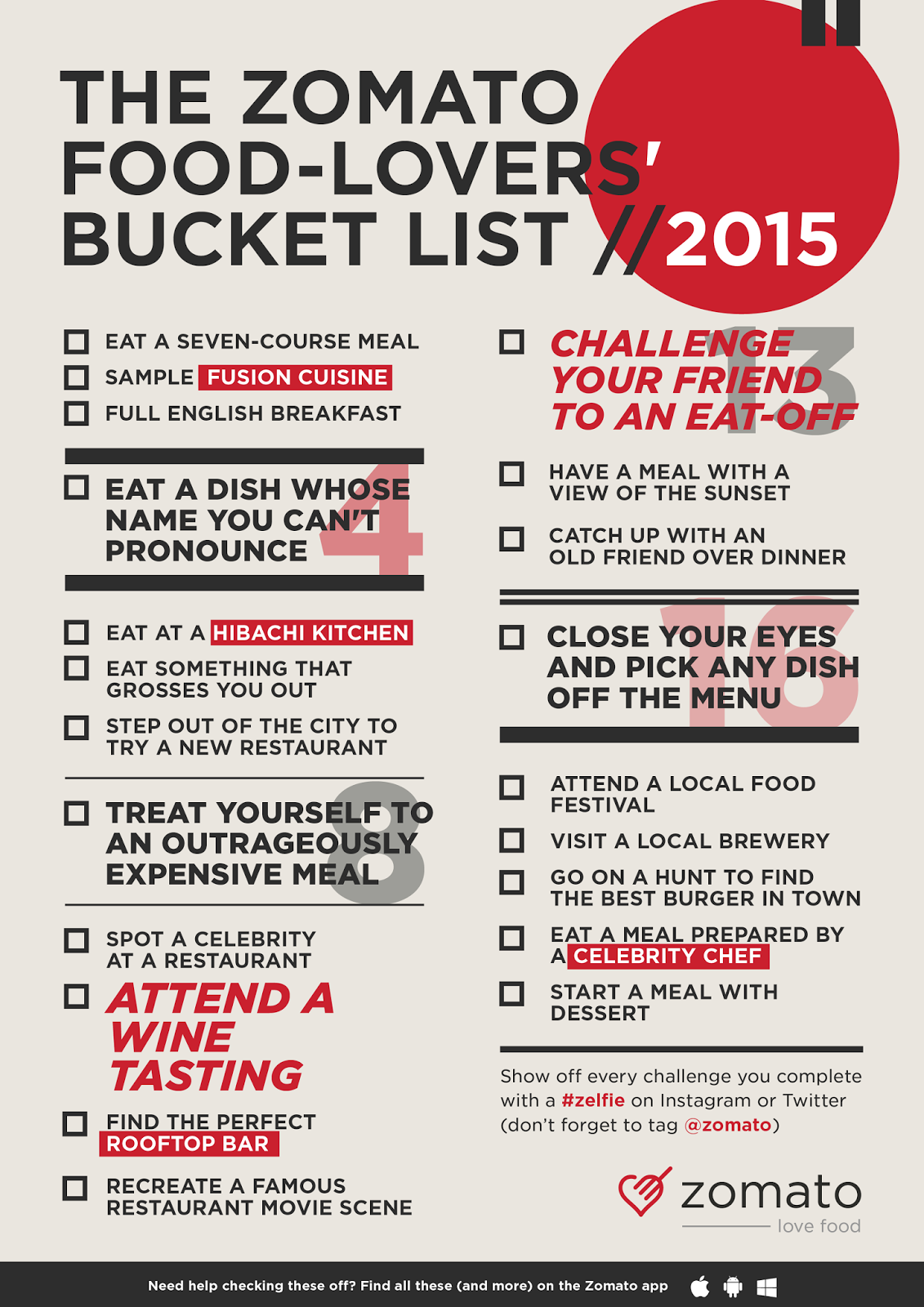 Zomato Foodie Bucket List for 2015