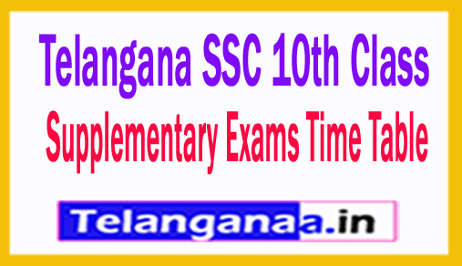 TS SSC 10th Class Supplementary Exams Time Table 2018