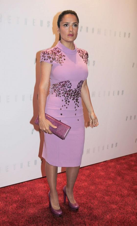 Actress Salma Hayek Stills In Tight Violet Black Dress