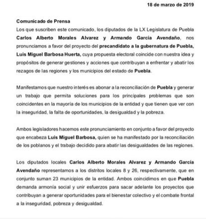 Anuncian investigación contra perredista por sumarse a candidato de Morena