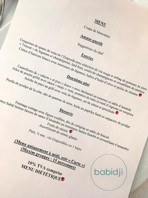 menu gastronomique du restaurant El Pelegri à Figuères