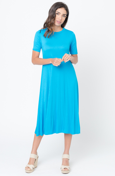Turquios Solid Jersey Swing Midi Dress