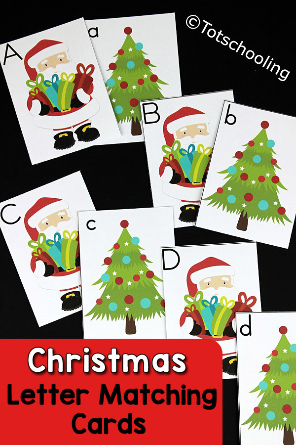 FREE Christmas themed alphabet cards for preschoolers to identify and match letters and letter cases. Can be used in a variety of different ways, great for toddlers and preschoolers!