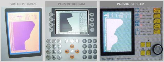 Contoh Dysplay Controller Parison Program Untuk Mengatur Ketebalan Produk Dengan Gerakan Die Pin