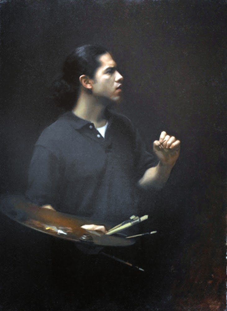 Jesus Emmanuel Villarreal, Self Portrait, Portraits of Painters, Fine arts, Portraits of painters blog, Paintings of Emmanuel Villarreal, Painter Emmanuel Villarreal