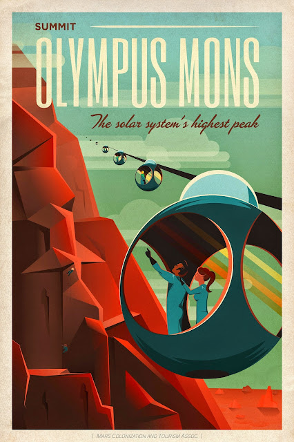Mars Travel: SpaceX Mars Travel Poster - Olympus Mons