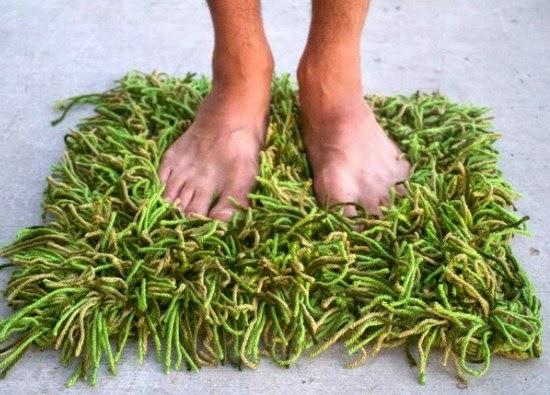Alfombra un pedazo de hierba de crochet, tutorial