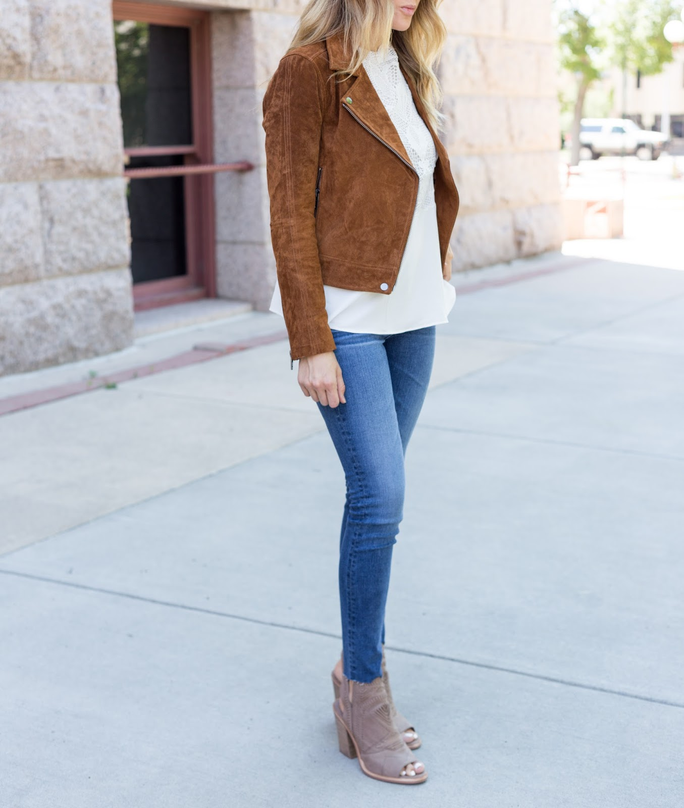 AG Legging Jeans - The Must Have Brown Suede Jacket For Fall by Colorado fashion blog