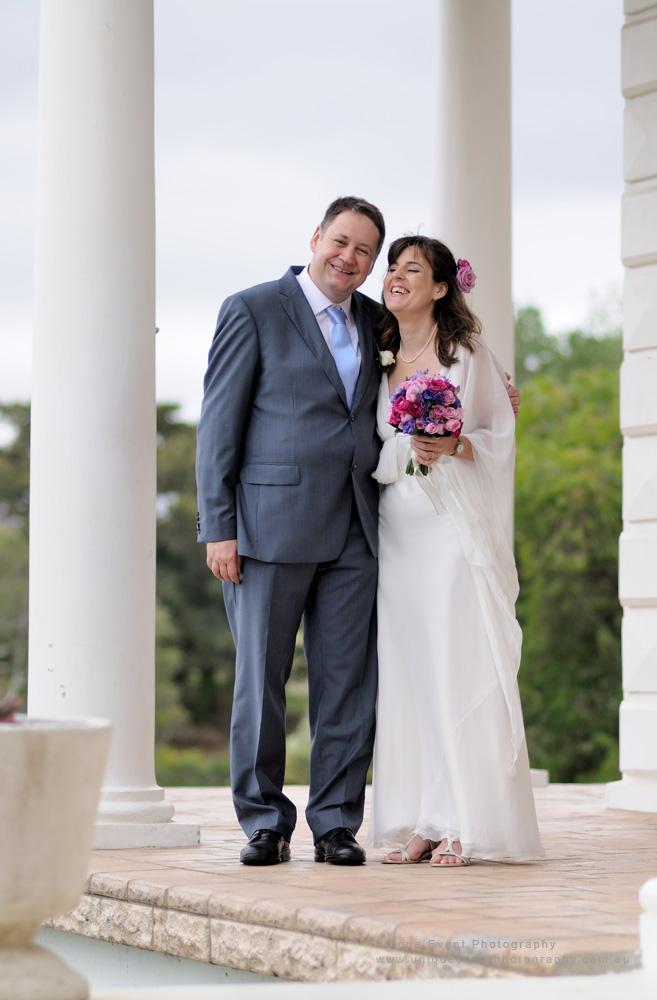 Wedding portrait, bride and groom at Strickland House. Garden Wedding Photographer Sydney.