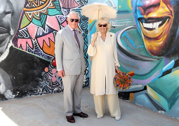 Prince Charles and Duchess of Cornwall attend an Art, Music, Dance and Youth Exhibition in Jamestown in Accra