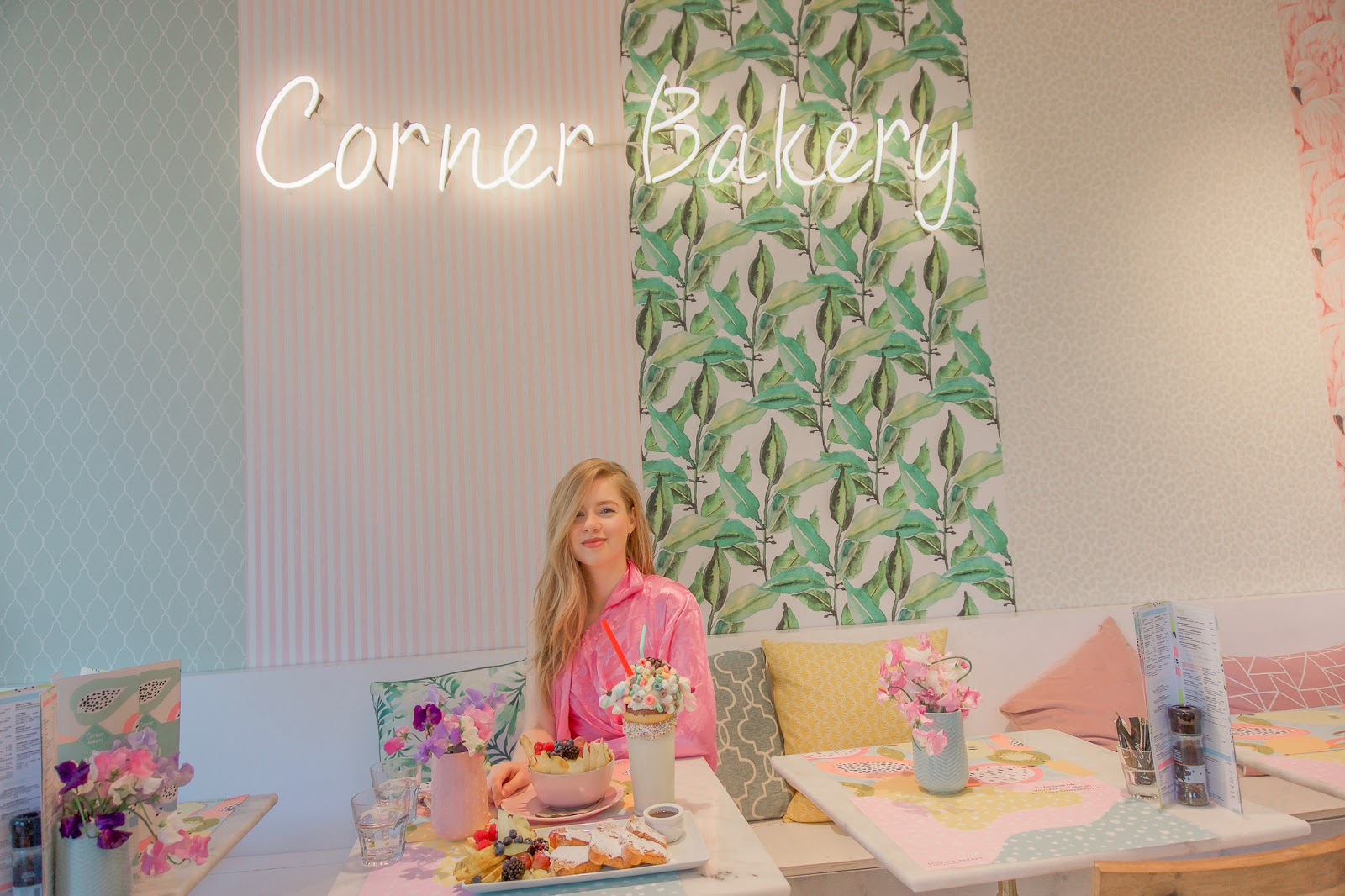 Pink Kimono In Cute Cafe