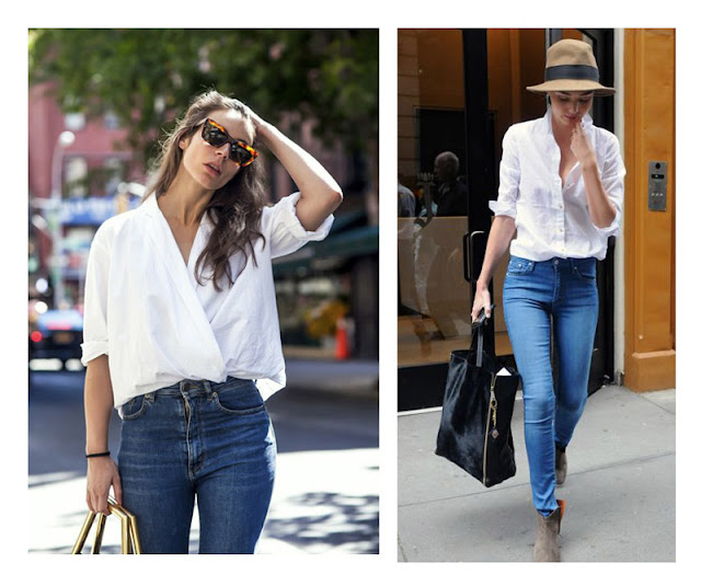 Джинсы + белая рубашка + очки + шляпа