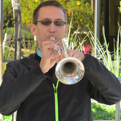 "Associate Dean and trumpet player Dustin Maroney performs during ""Lunch Break at Rio"""