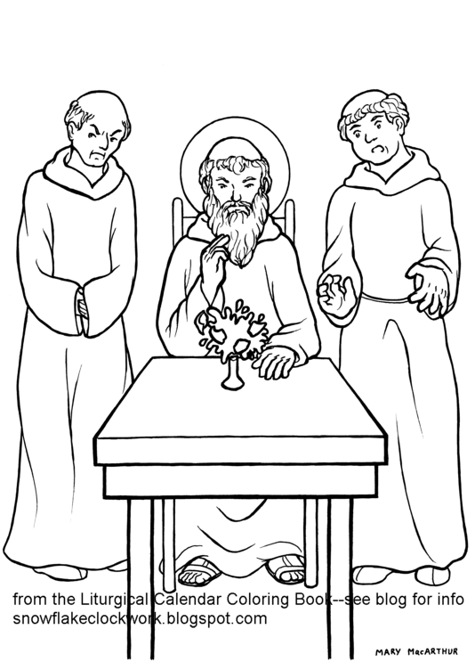 Snowflake Clockwork: St. Benedict coloring page--July in