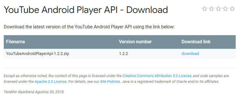 Youtube Android Player Api