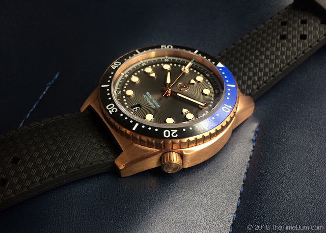 Zelos Mako bronze diver black and blue bezel rubber strap side