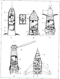 Schizzi per capsule suborbitali mai progettate dall'OKB-1. Fonte: Asif A. Siddiqi, Challange to Apollo, NASA.