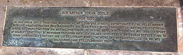 The Southsea brown plaque commemorating Conan Doyle.