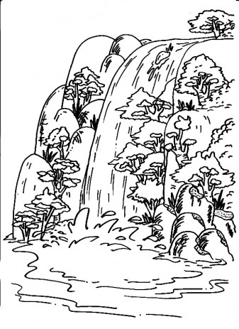 Coloring Pages Waterfall | Coloring Pages