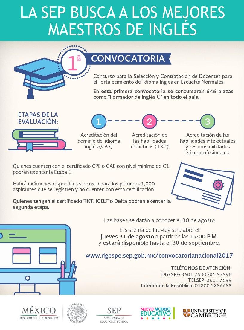 1ra convocatoria para la selecci n y contrataci n de for Convocatoria de plazas docentes 2017