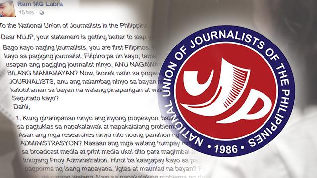 Fearless netizen blasts NUJP: 'Ano ang naimbag niyo sa bayan?'