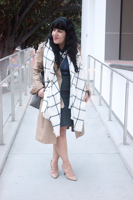 Trench Coat Wool Pencil Skirt Mary Jane Heels SF Blogger Office Outfit