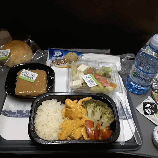 Hãng hàng không Mỹ American Airlines khá đơn giản với món cơm rau củ xào cùng thịt sốt, kèm với một phần salad trộn nhỏ. Bên cạnh đó còn có bánh mì, và các món ăn nhẹ khác.