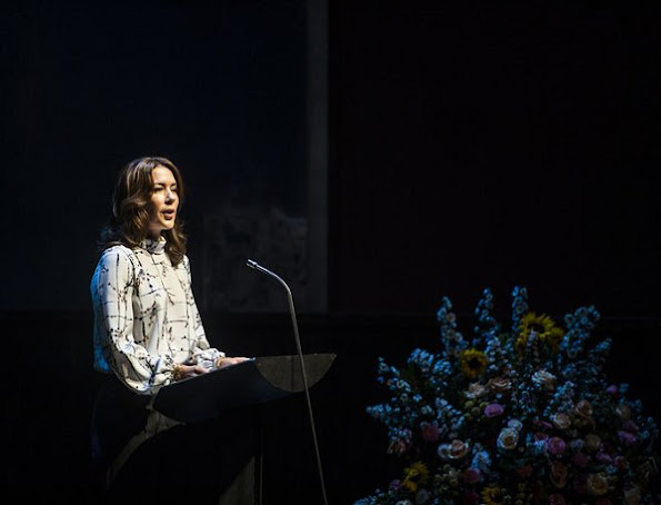 Crown Princess Mary at Copenhagen Cultural Children's Summit at Danish Royal Theatre, Mary wore dress, style