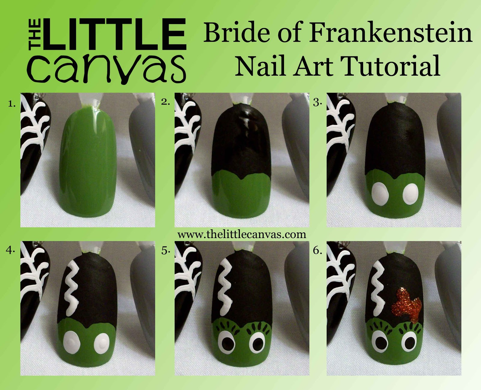 Frankenstein And His Bride Nail Art Tutorial