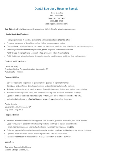 resume samples  dental secretary resume sample
