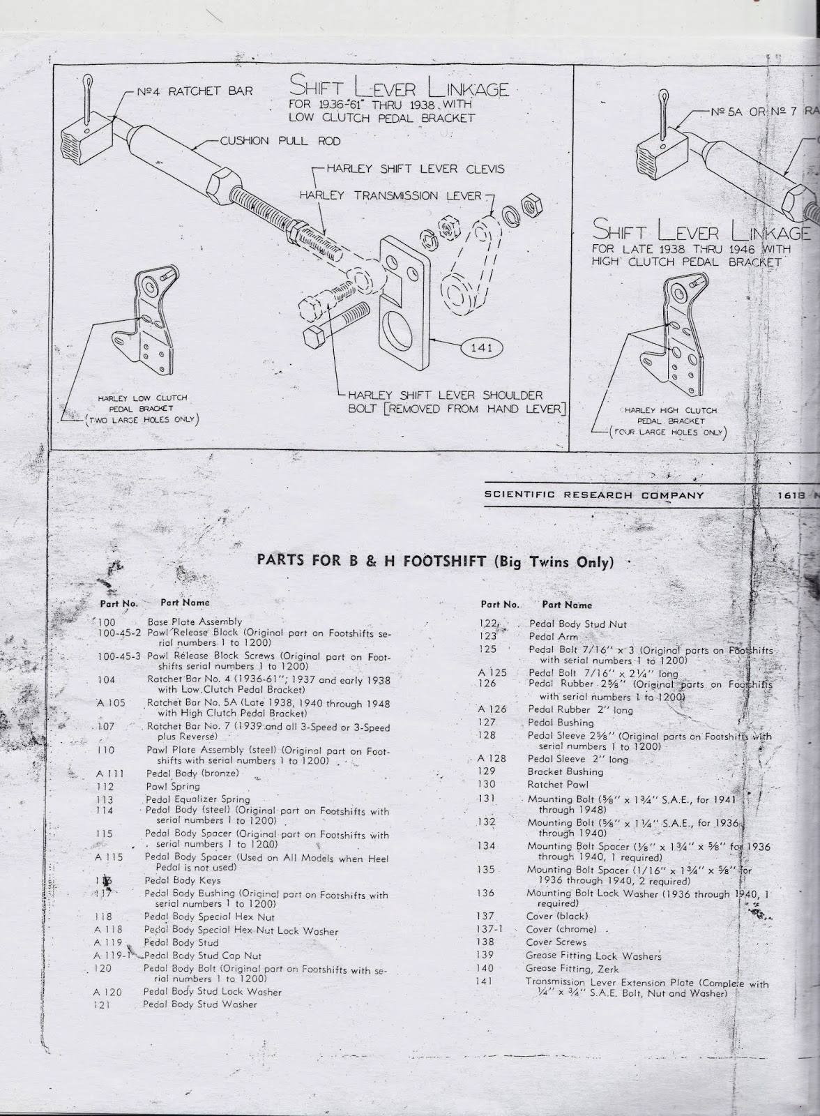 Knuckle Buster 1939: B&H Footshift Instructions and Parts