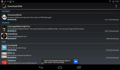 install rom langsung melalui ROM Manager