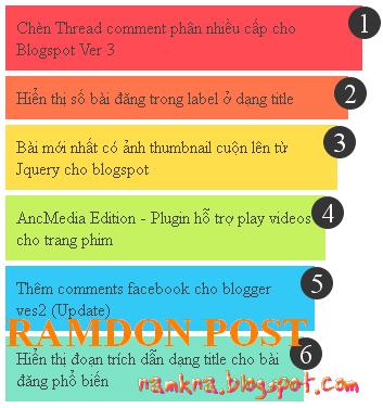 Bài viết ngẫu nhiên nhiều màu sắc có số đếm cho blogspot