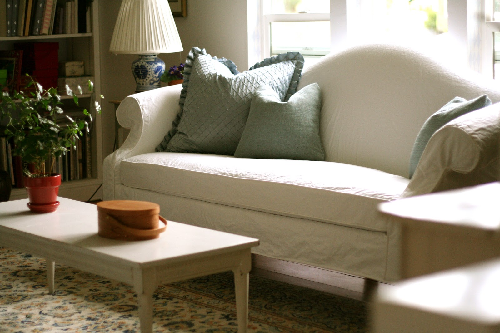 White Camel Back Couch Slipcovers by Shelley