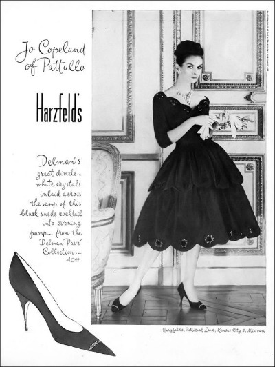 Anne St. Marie in full-skirted tiered cocktail dress by Jo Copeland of Patullo,  black suede pump inlaid with crystals from Delman Pavé Collection,  Harper's Bazaar, September 1959 Harzfeld's Ad