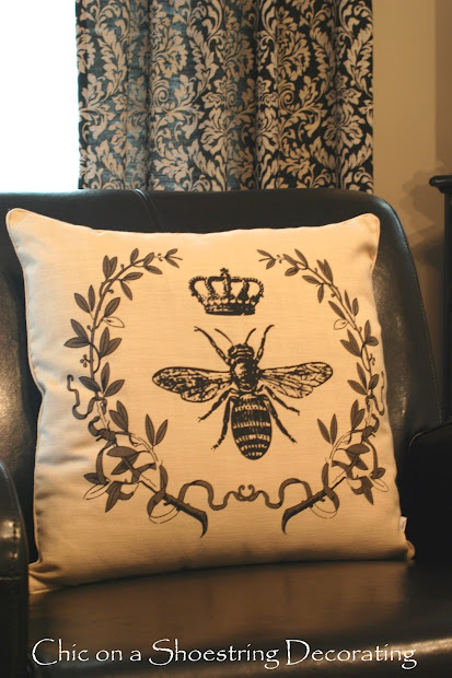 Chic Shoestring Decorating Bee Pillow