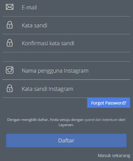 registrasi gramblr dan login instagram