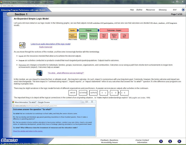 Screen shot of a Logic Model explanation