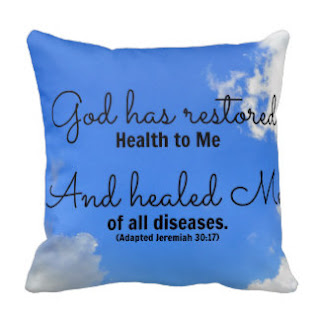 God has restored health to me and healed me of all diseases. (Adapted Jeremiah 30:17) throw pillow