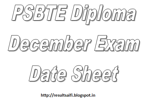 PSBTE Punjabteched Diploma Date Sheet December 2014-2015