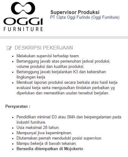LOKER Mojokerto - Lowongan Kerja PT Cipta Oggi Furindo (Oggi Furniture) Terbaru 2020