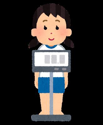 体重測定のイラスト(女の子・デジタル)