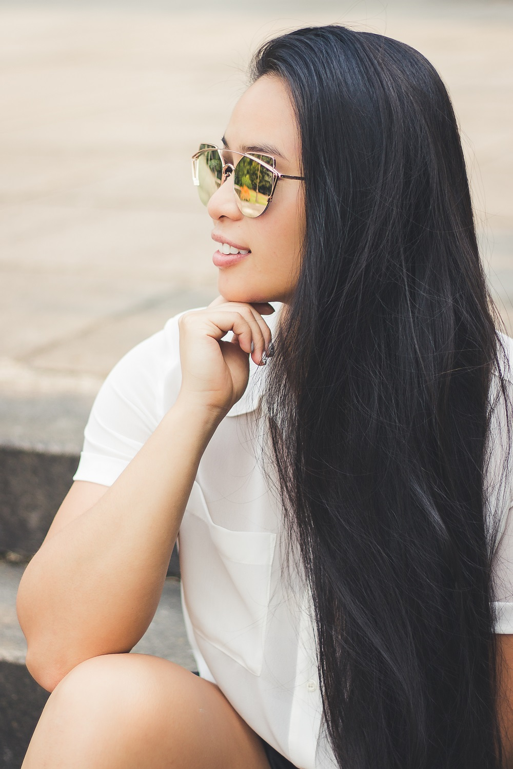 long hair portrait ootd blogger