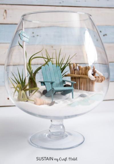 Mini Beach Terrarium in Wine Glass